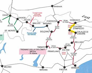 Cartina Treno Dolomiti - tracciato